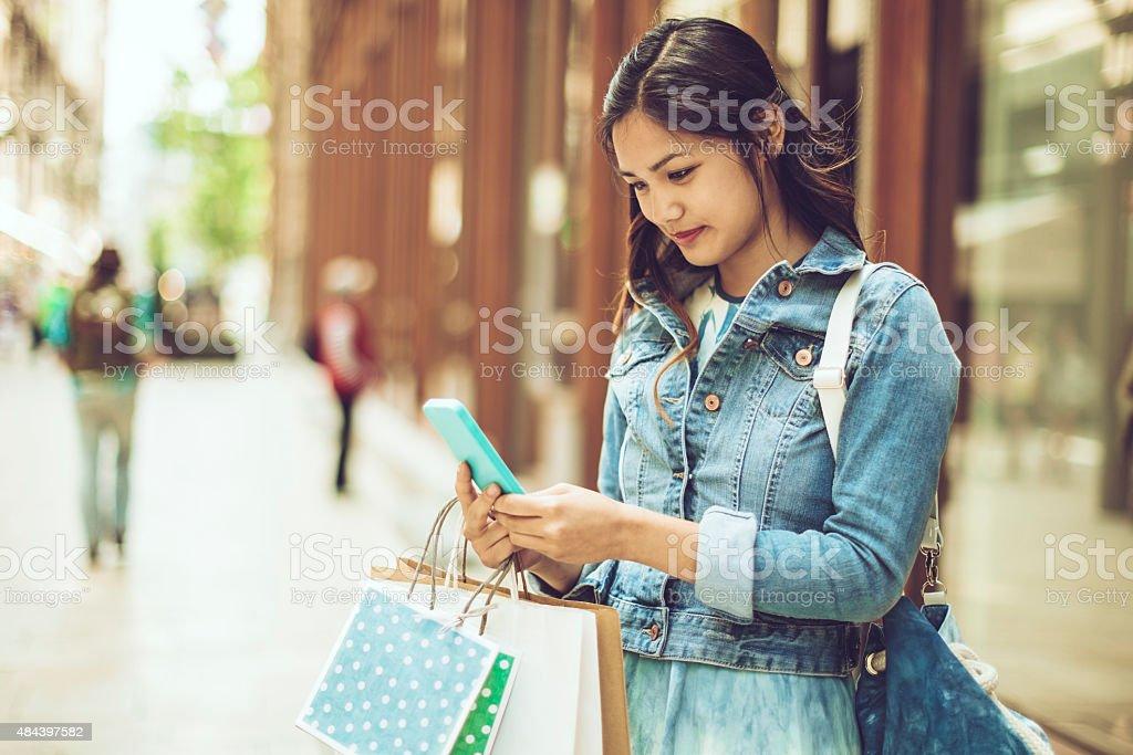 Checking the good news stock photo