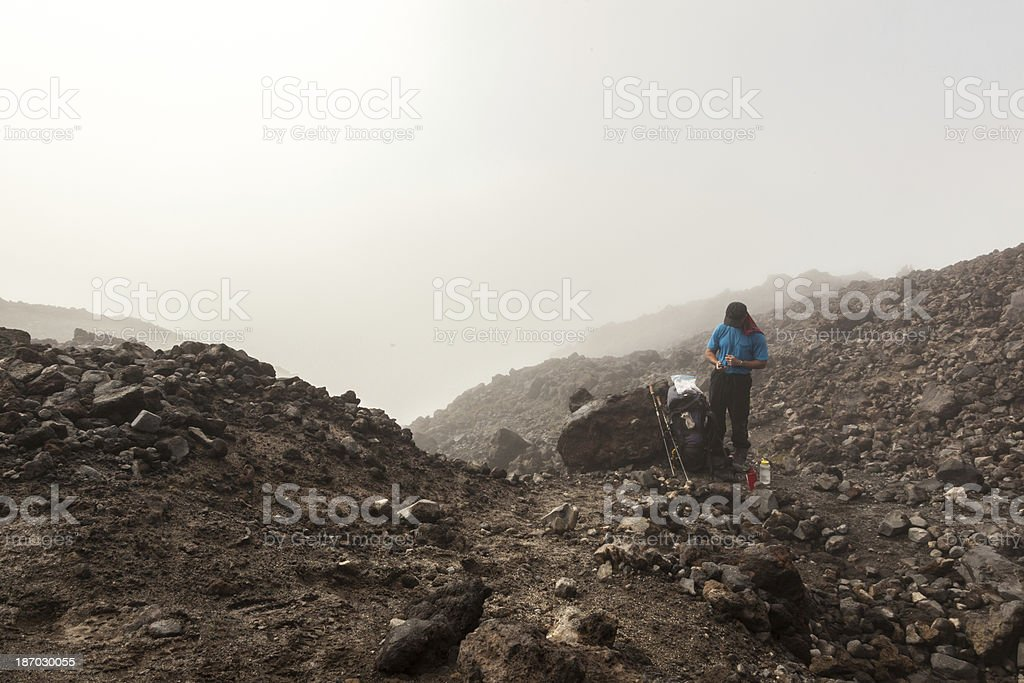 Checking the GPS in Fog royalty-free stock photo