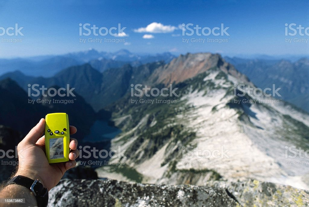 Checking the GPS. royalty-free stock photo