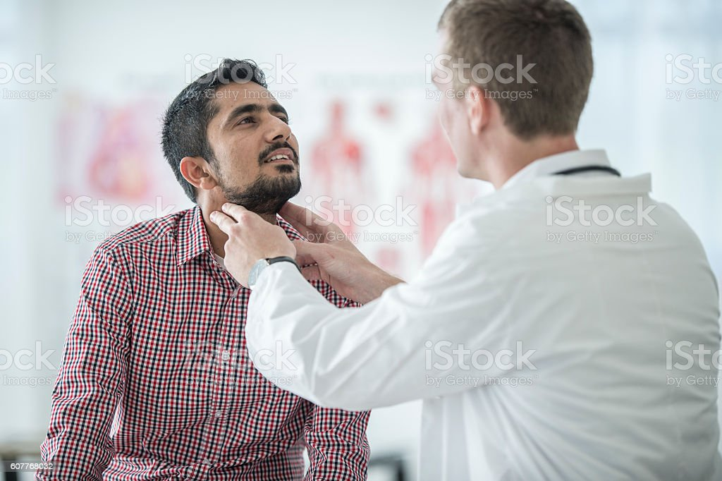 Checking the Lymph Nodes stock photo