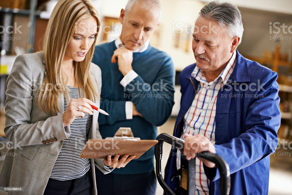 Checking the manifest before shipment stock photo