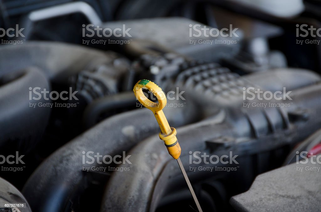 Checking the Motor Oil in a Vehicle stock photo