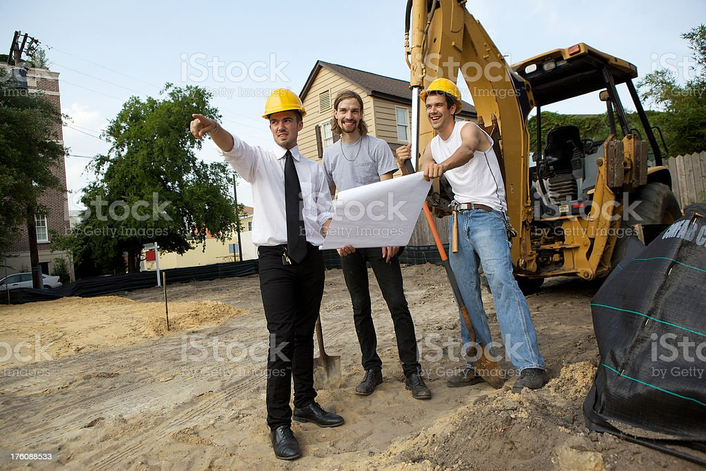 Checking the Plans royalty-free stock photo