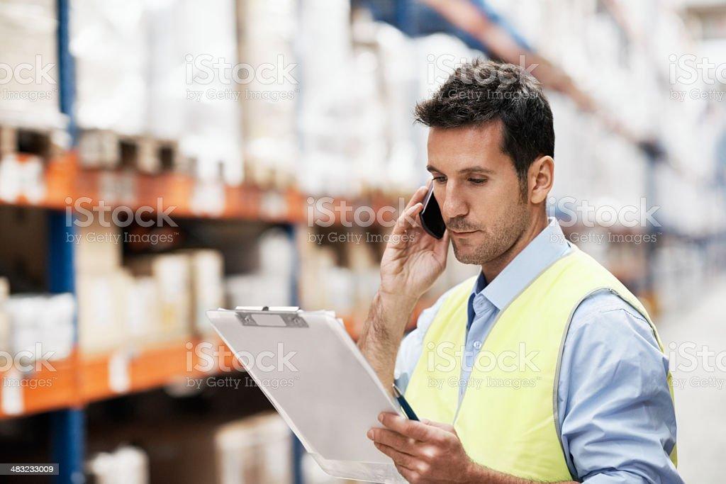 Checking the shipment stock photo