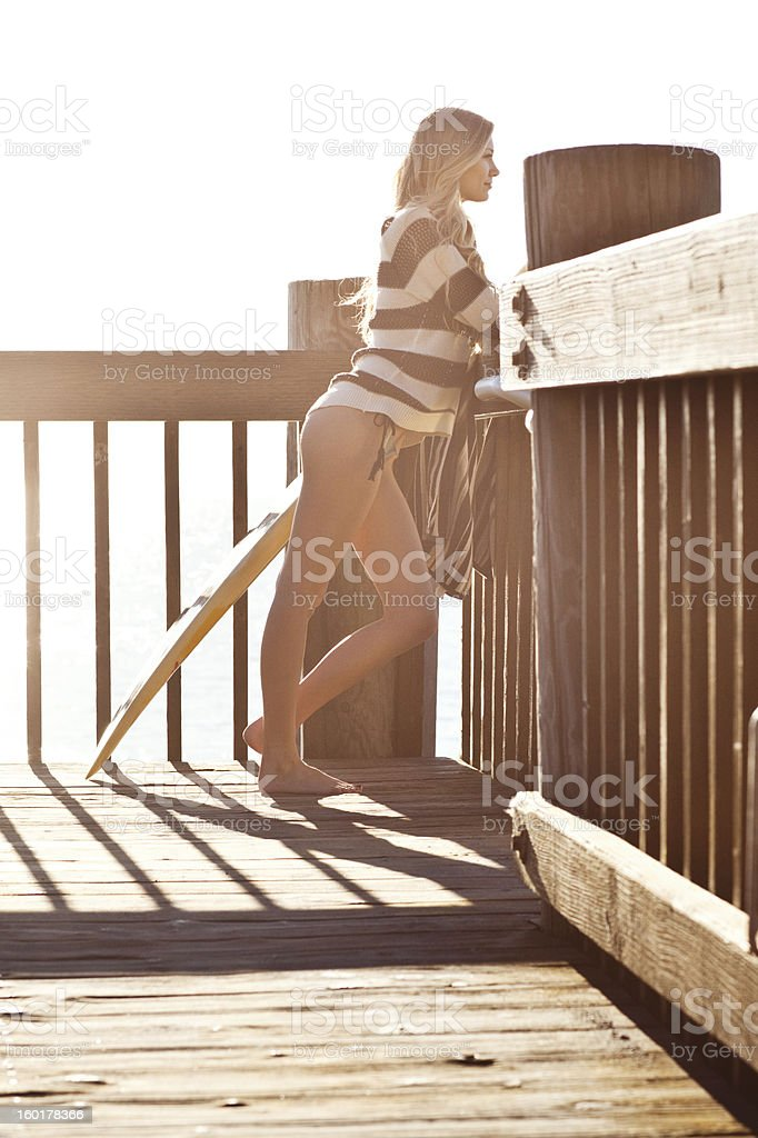 checking the surf royalty-free stock photo