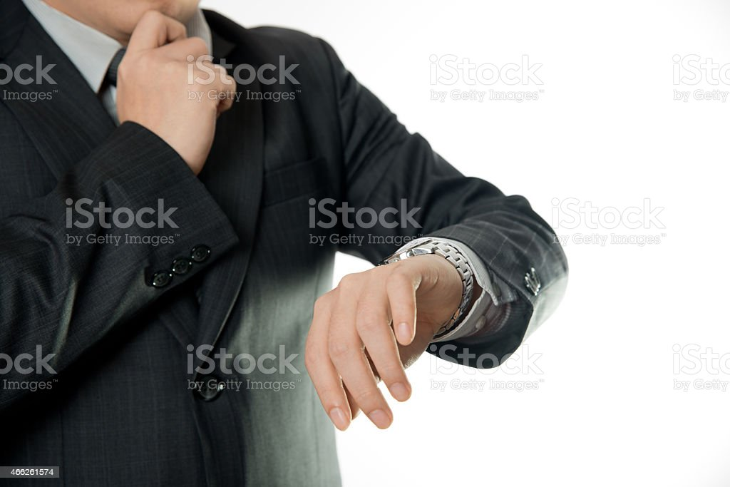 Checking the time stock photo