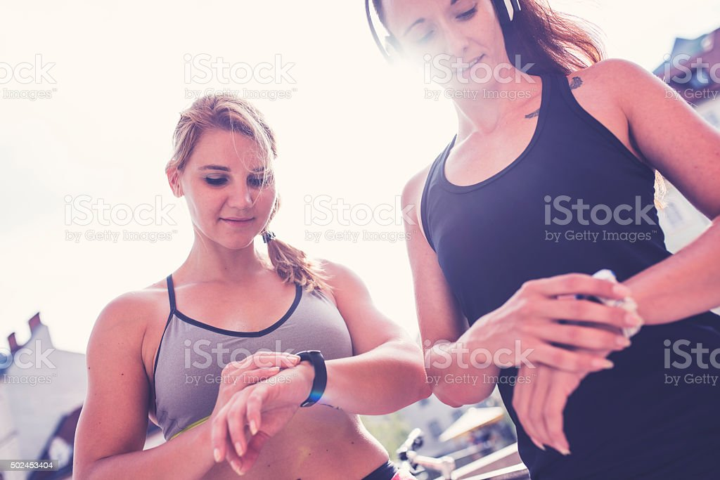 Checking their heart rate stock photo