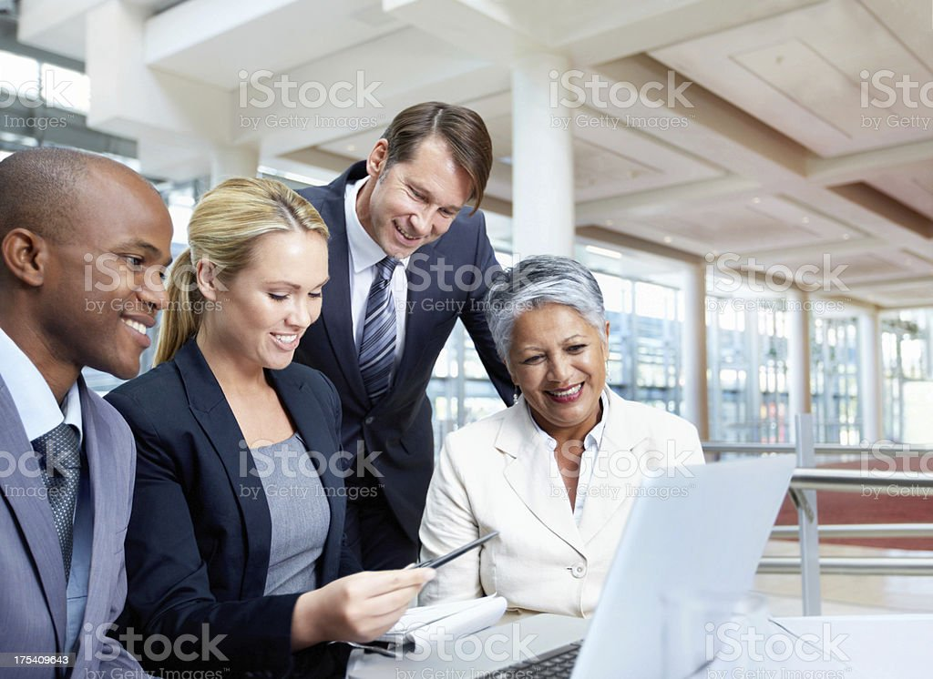 Checking through our business reports stock photo