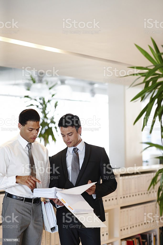 Checking through the company reports royalty-free stock photo