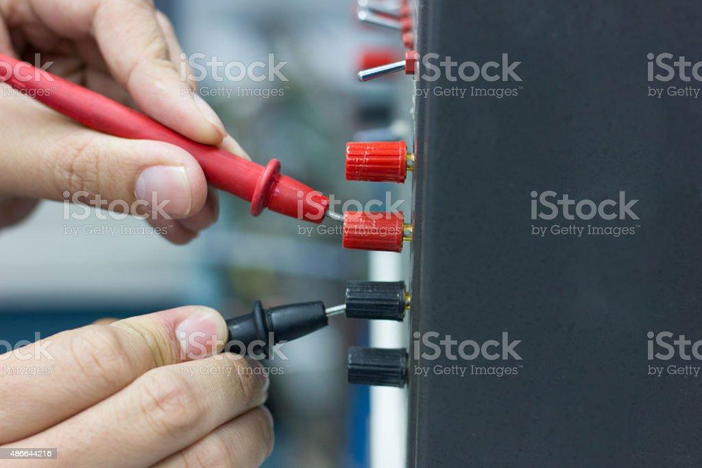 checking voltage stock photo