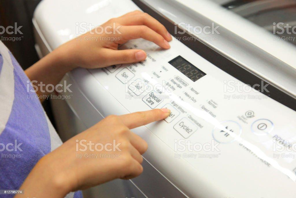 Checking Washing Machine stock photo