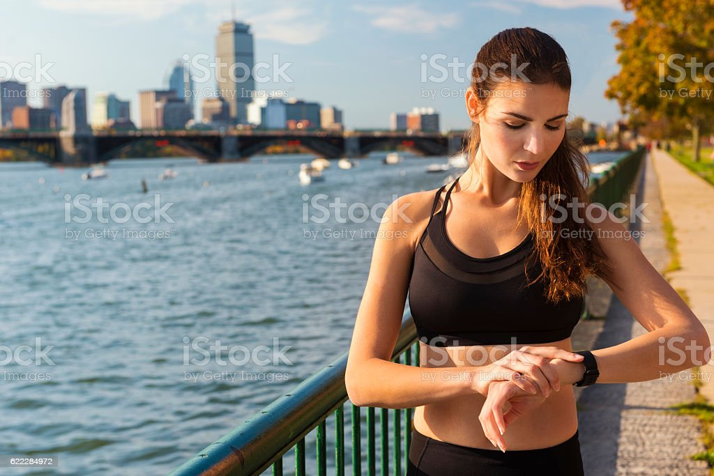 Checking Your Activity Tracker in Boston, USA stock photo