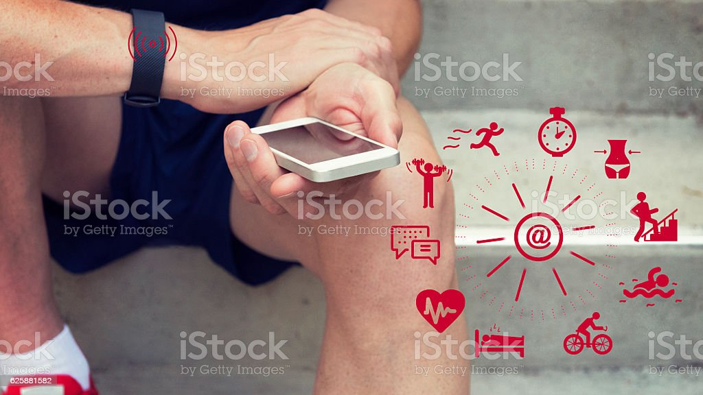 Checking Your Activity Tracker stock photo