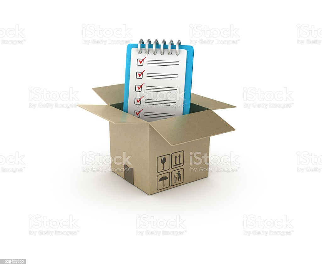 Checklist and Open CardBoard Box  - 3D Rendering stock photo