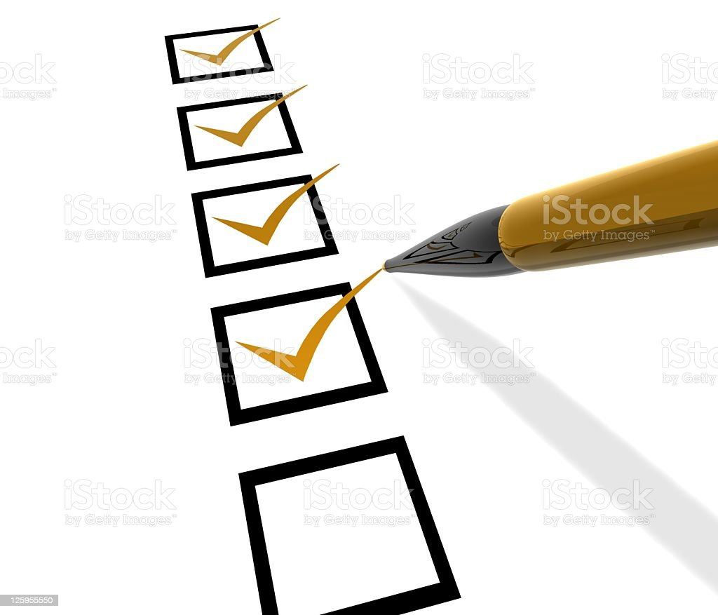 A checklist box with ticks marked off royalty-free stock photo