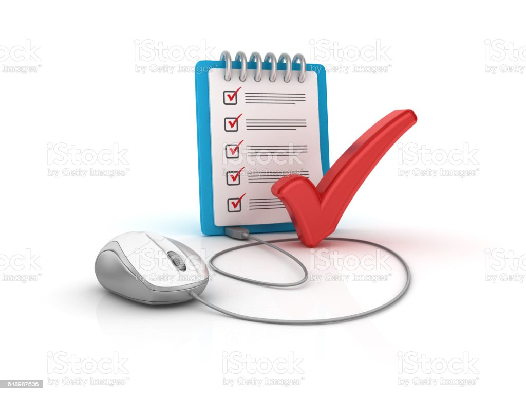 CheckList Clipboard and Computer Mouse - 3D Rendering stock photo