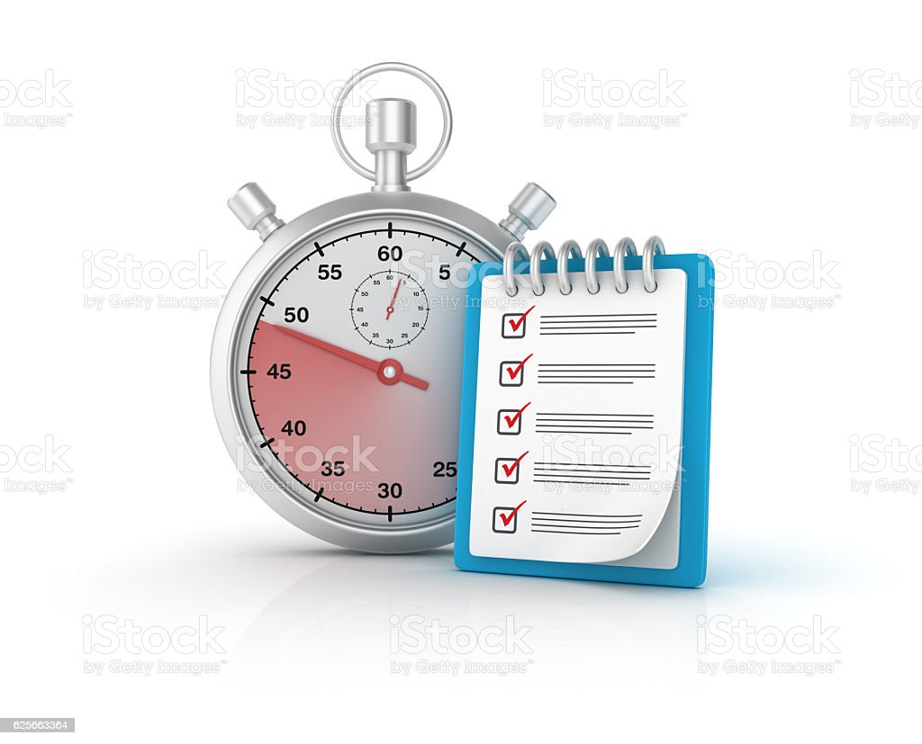 CheckList Clipboard with Stopwatch - 3D Rendering stock photo