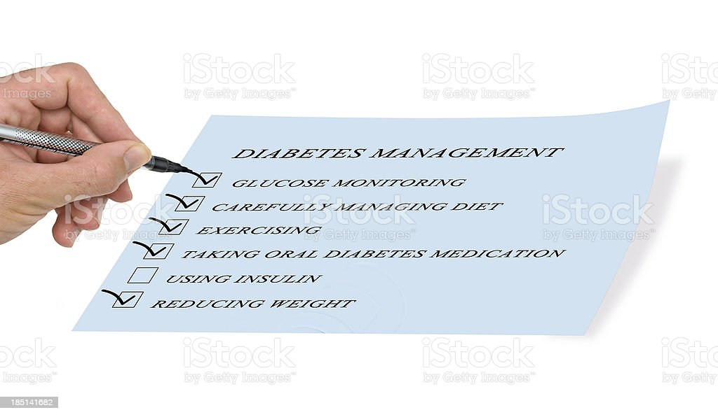 checklist for diabet managment royalty-free stock photo