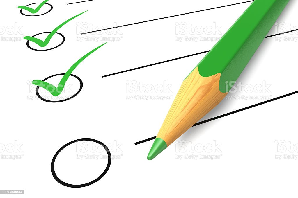 Checklist green pencil stock photo