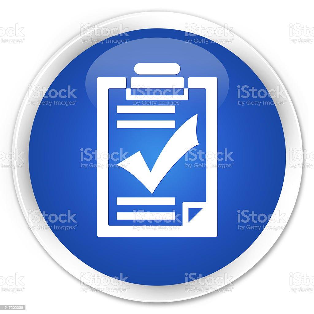 Checklist icon blue glossy round button stock photo