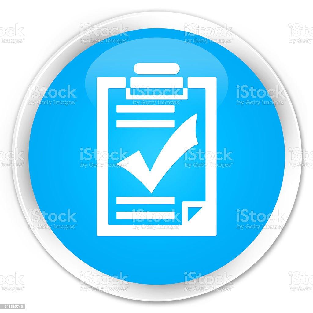 Checklist icon cyan blue glossy round button stock photo