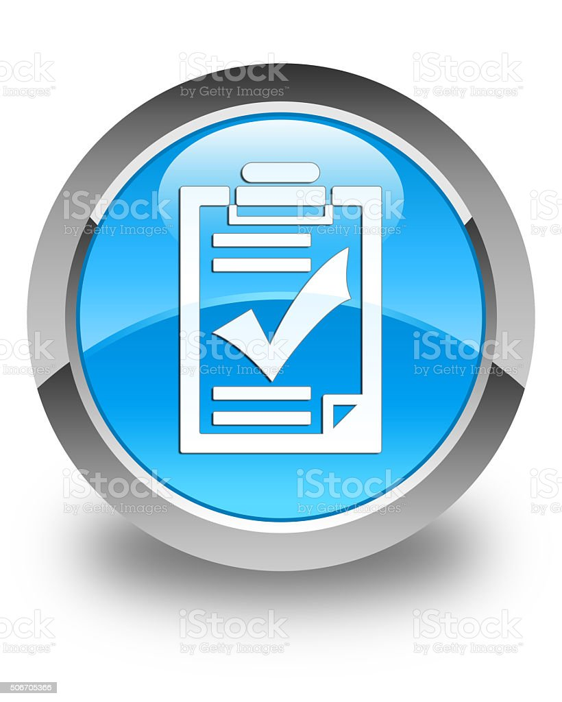 Checklist icon glossy cyan blue round button stock photo