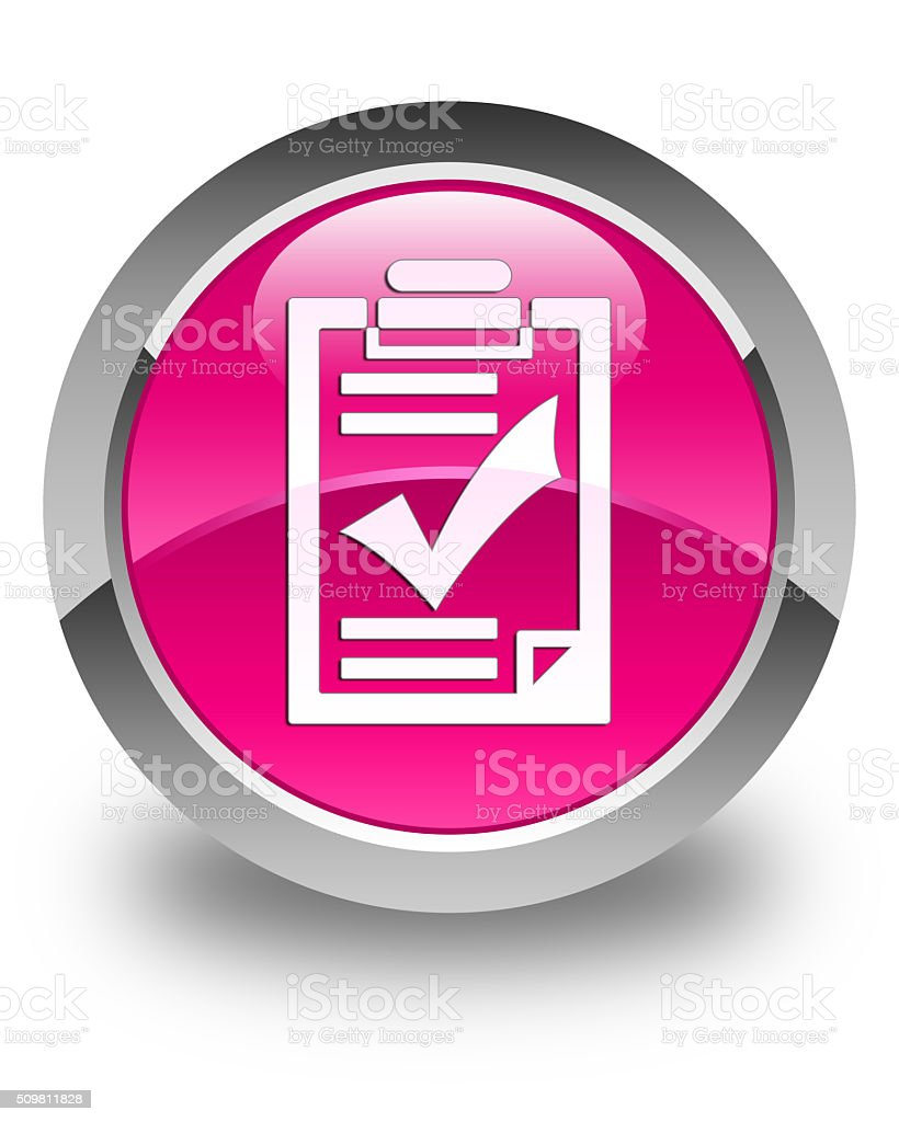 Checklist icon glossy pink round button stock photo