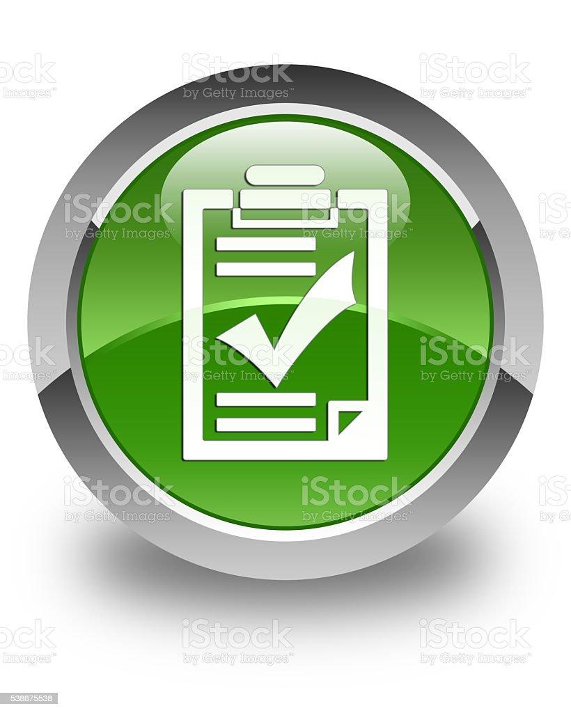 Checklist icon glossy soft green round button stock photo