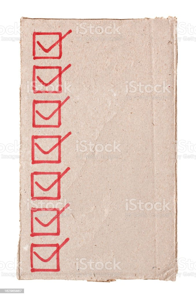 Checklist in the cardboard textured background isolated royalty-free stock photo