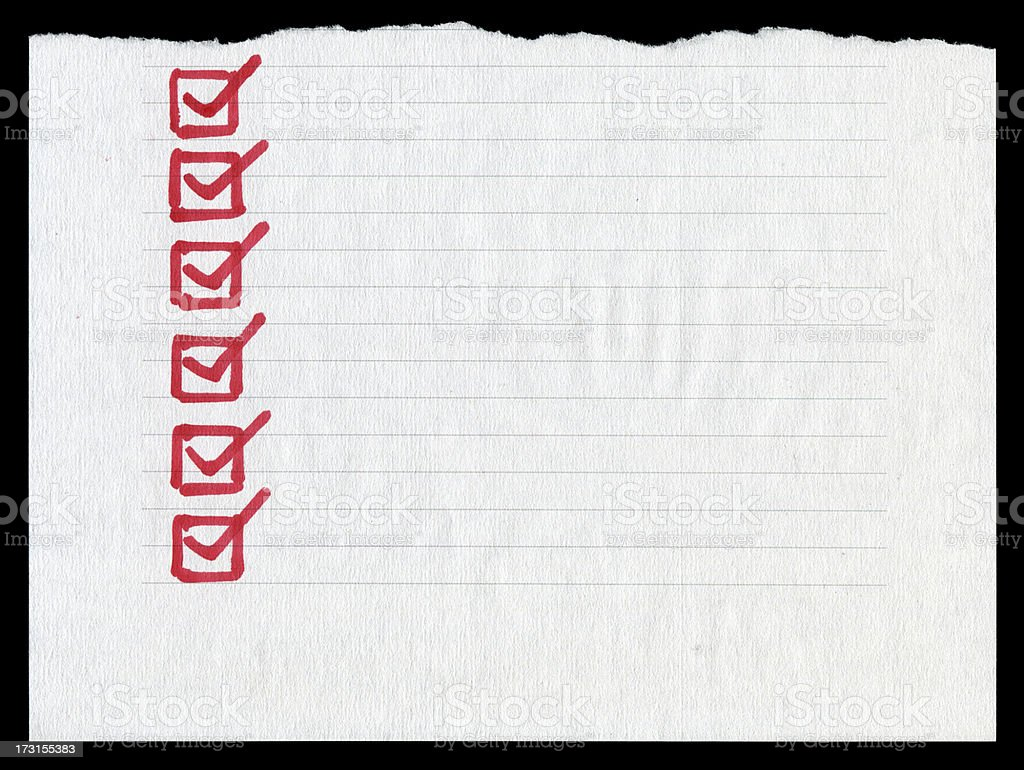 Checklist in the lined paper textured background royalty-free stock photo