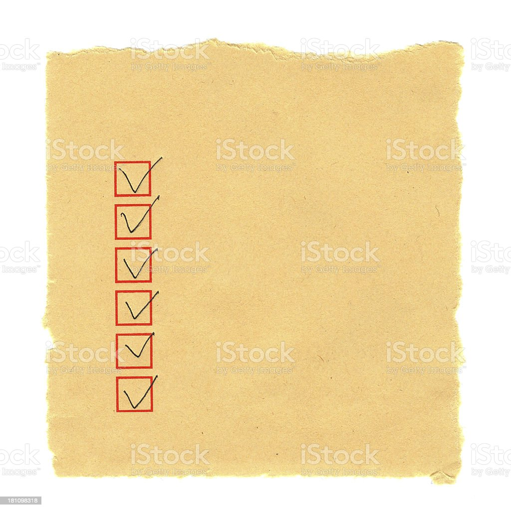 Checklist in the yellow paper stock photo