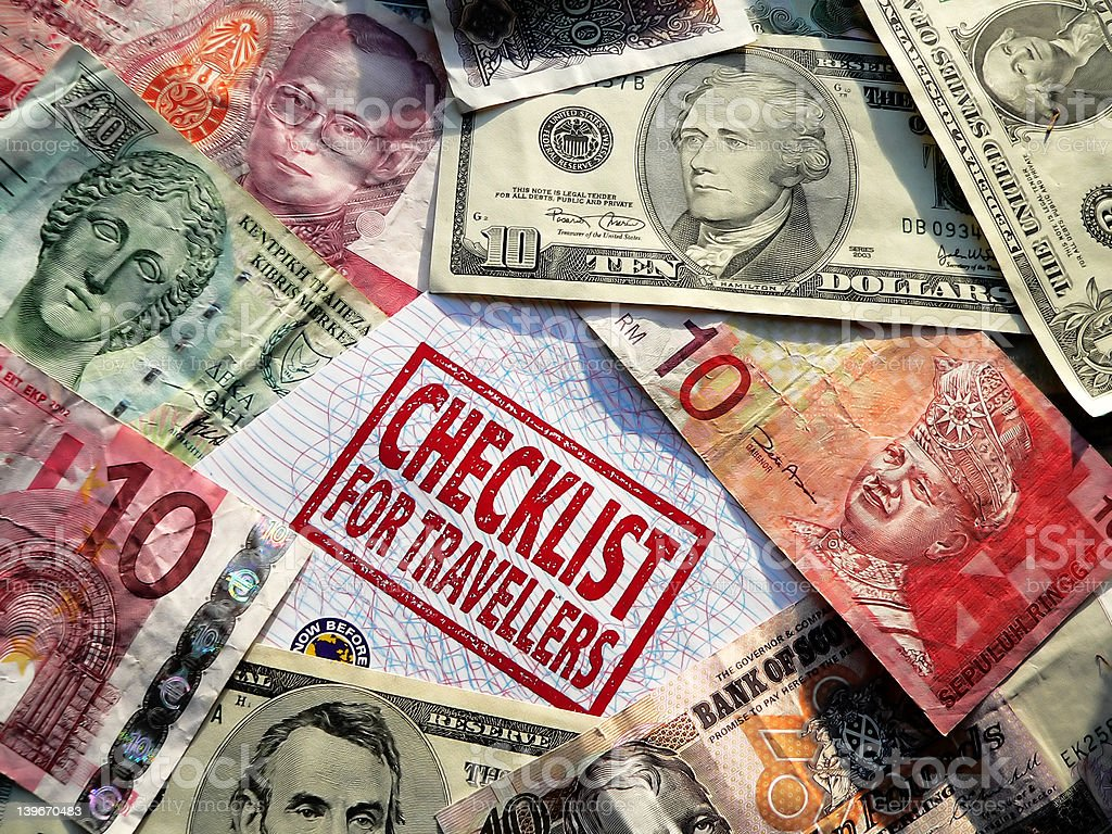 checklist & mixed currency royalty-free stock photo