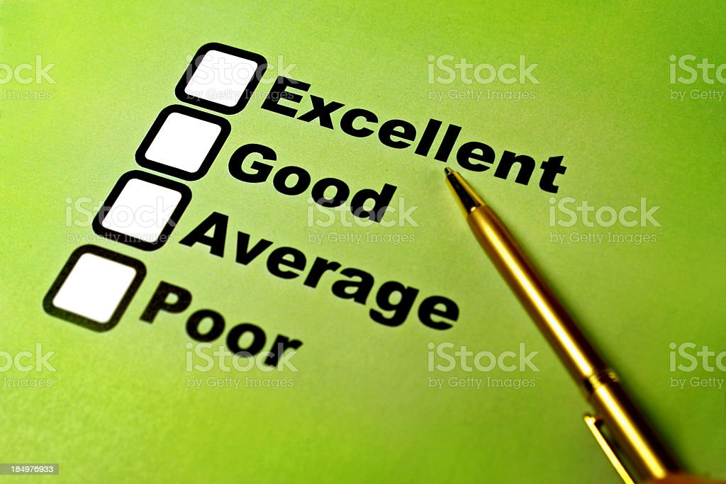 A checklist of survey ratings ranging from excellent to poor royalty-free stock photo