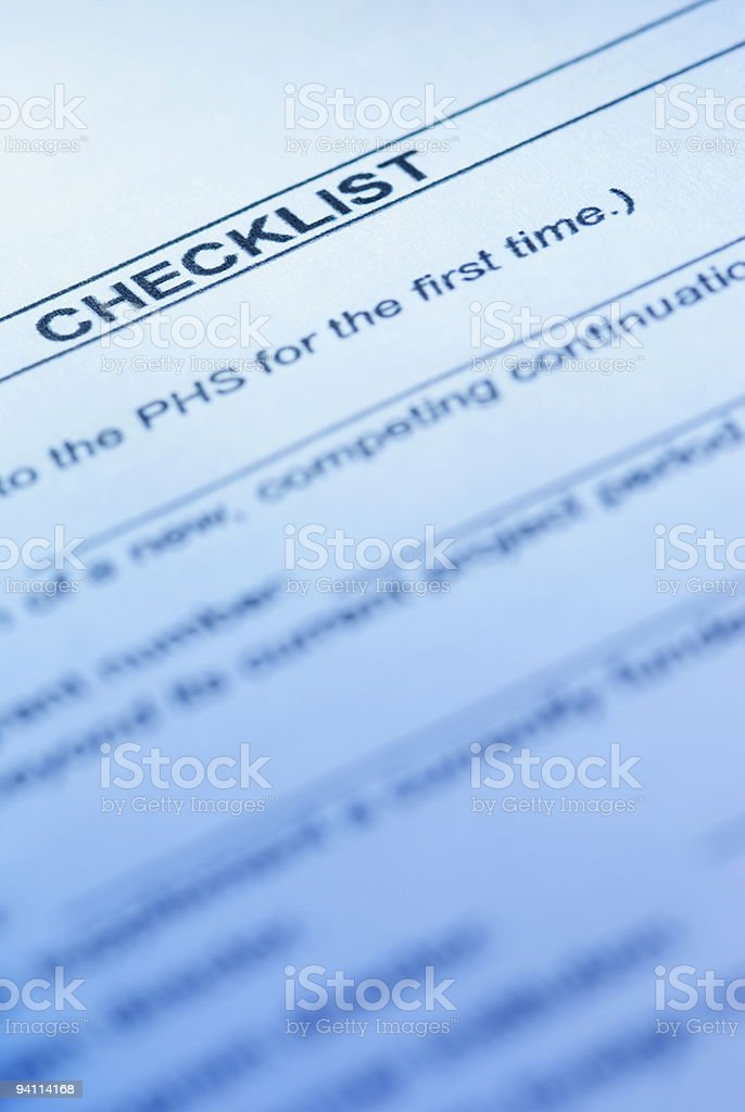checklist of the Public Health Service royalty-free stock photo