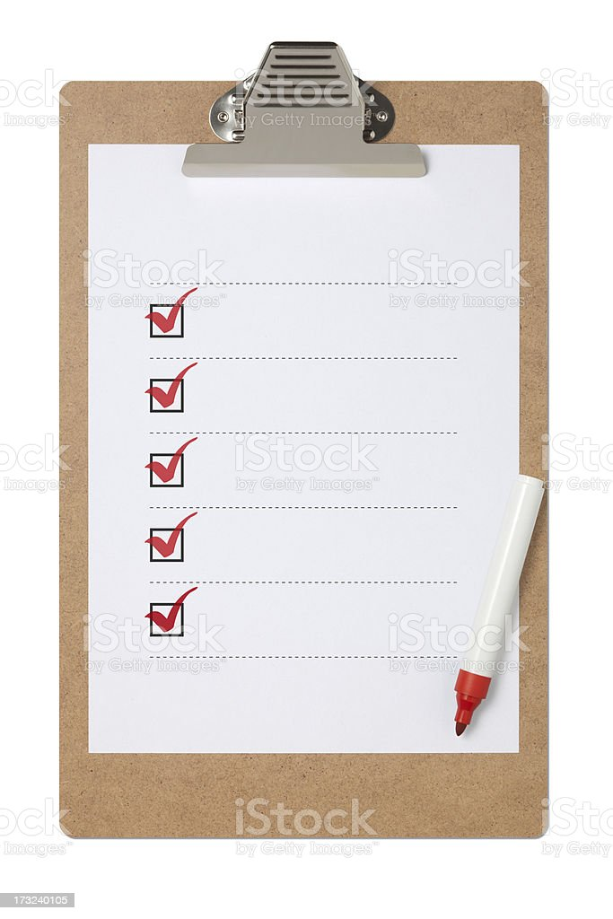 Checklist On Clipboard With Clipping Path stock photo