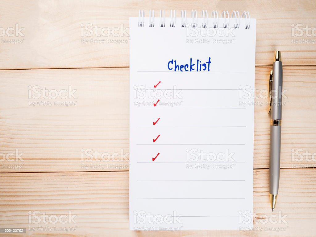 Checklist on notebook 15 stock photo