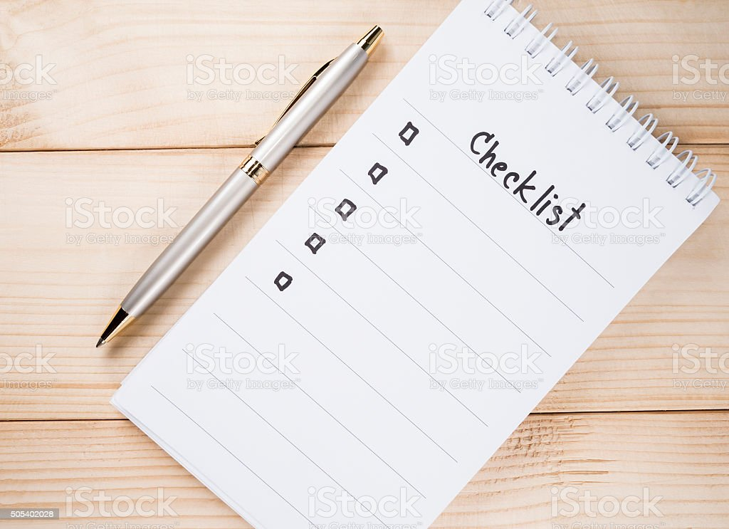 Checklist on notebook 16 stock photo