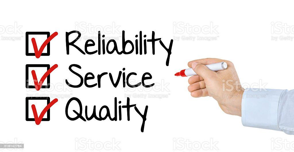 Checklist - Reliability Service and Quality stock photo