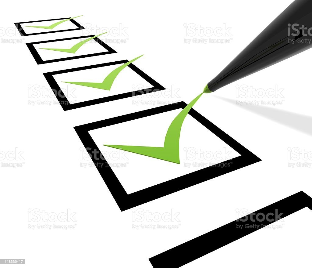 A checklist with green check marks royalty-free stock photo