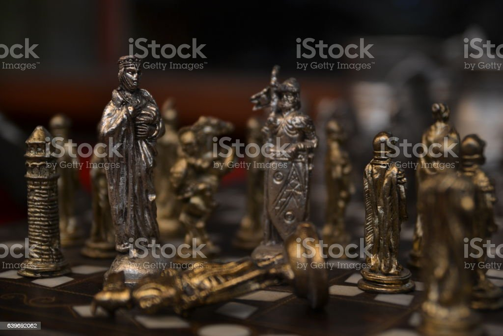 Checkmate defeats on Silver Chess stock photo