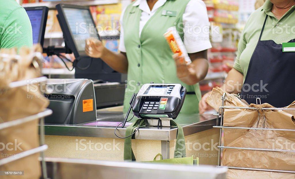 Checkout at supermarket royalty-free stock photo