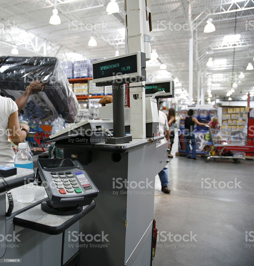 Checkout cash registers at the warehouse store royalty-free stock photo
