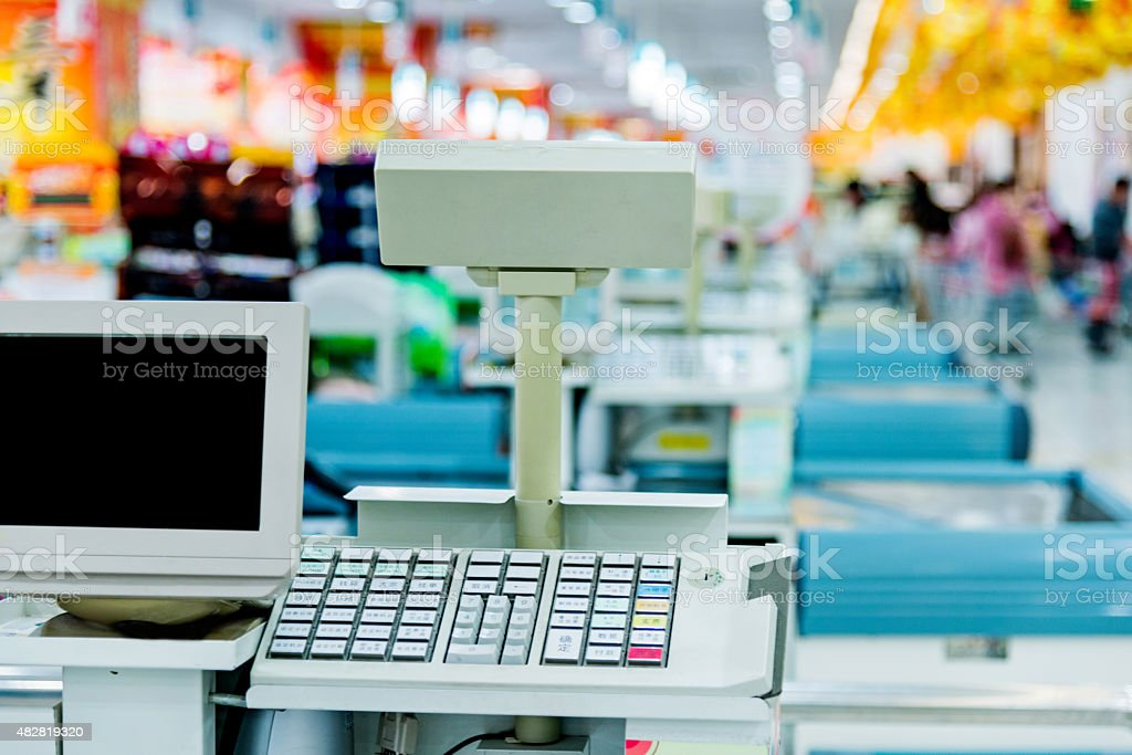 Checkout counter stock photo