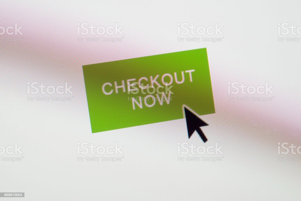 Checkout Now web button on webpage stock photo