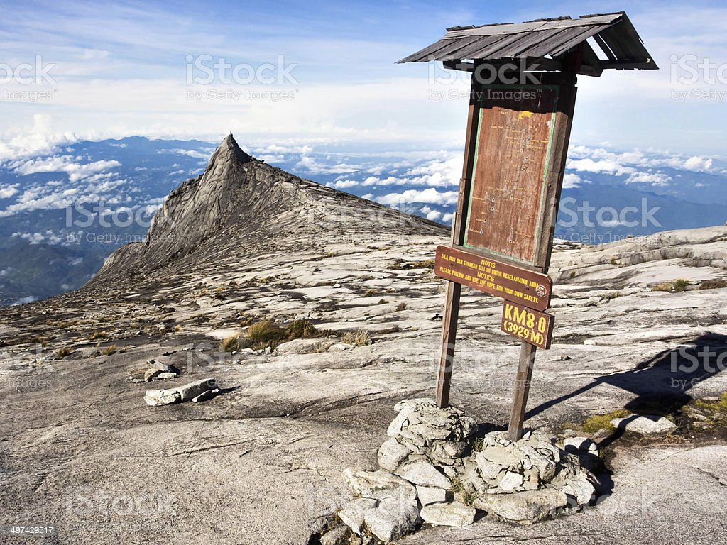 Checkpoint at the Top of Mount Kinabalu in Sabah, Malaysia stock photo