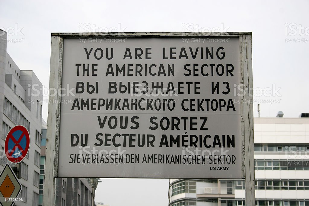 Checkpoint Charlie in Berlin stock photo