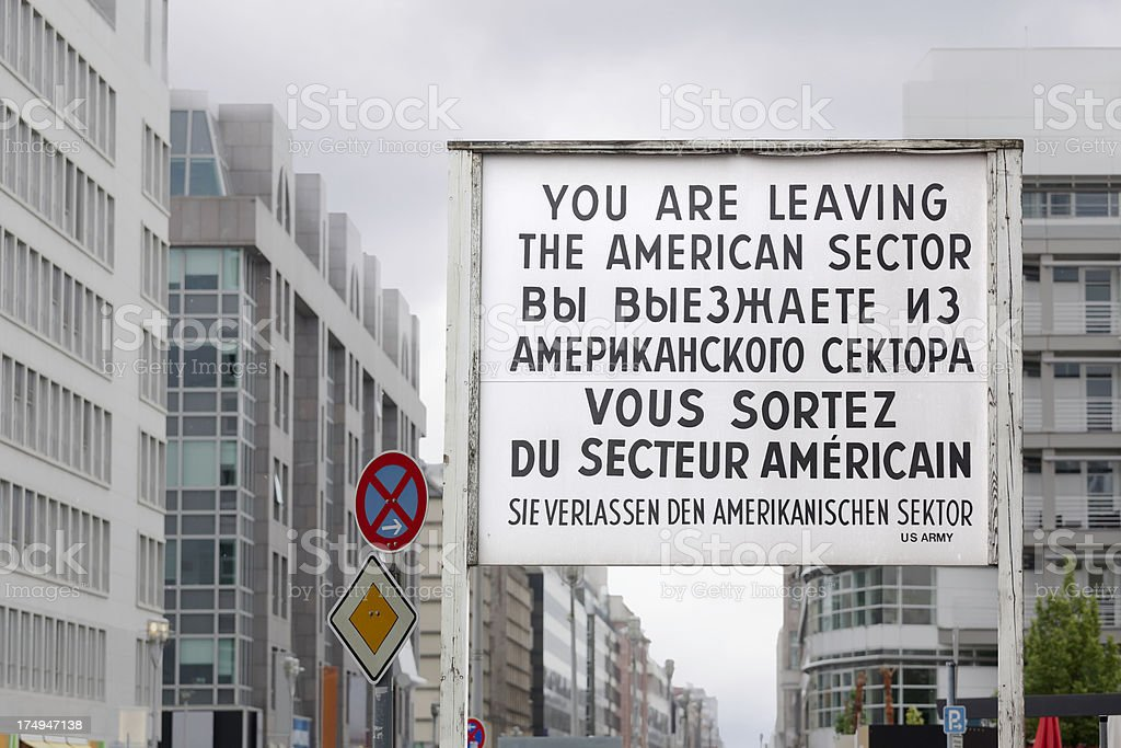 Checkpoint Charlie sign stock photo