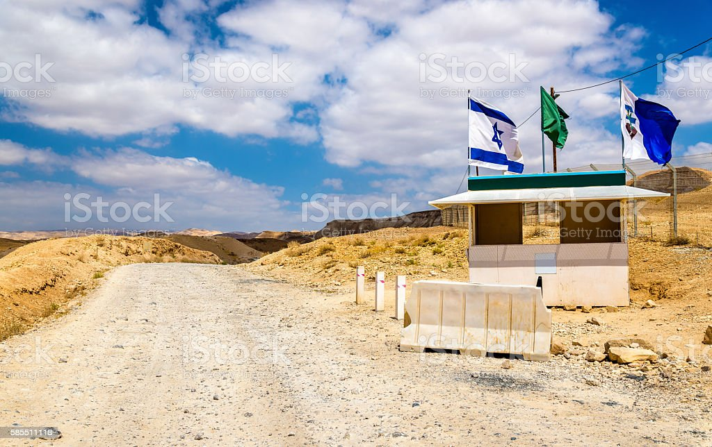 Checkpoint in the Judean Desert - West Bank, Israel stock photo
