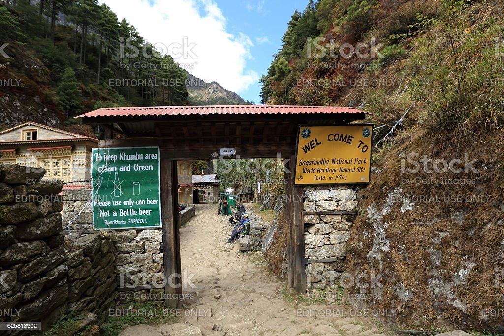 checkpoint on way to ebc at the sagarmatha national park stock photo
