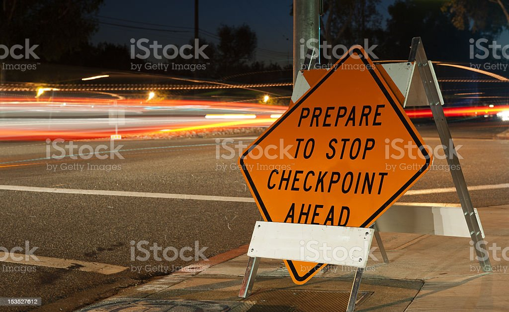 Checkpoint prepare to stop sign stock photo